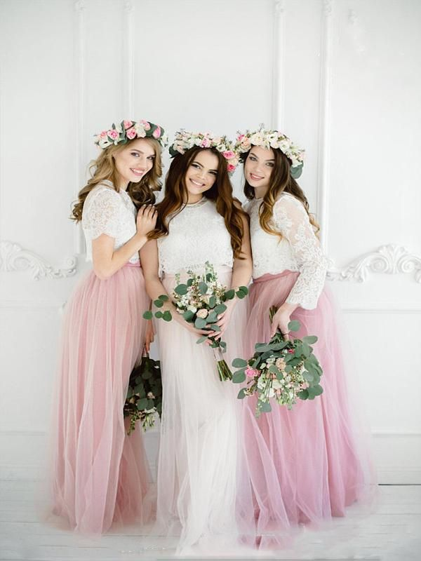 56a84c762a Brilliant Two Pieces Blush Pink Bridesmaid Dresses