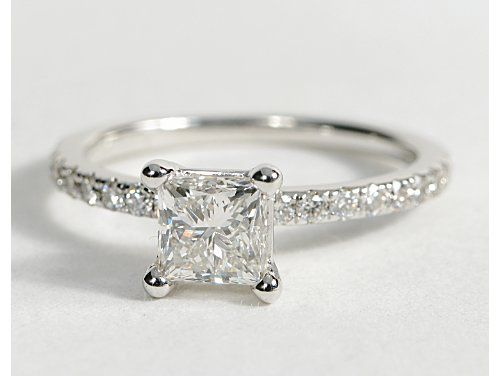 Princess-Cut Petite Pavé Diamond Engagement Ring