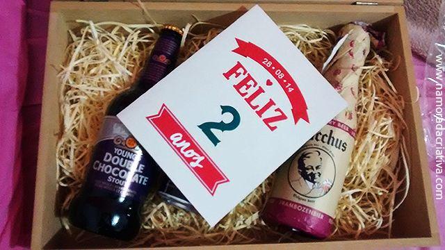 Caixa em MDF e cervejas importadas – Aniversário de Namoro