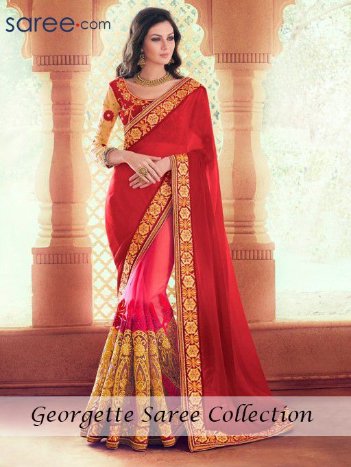 RED AND ORANGE GEORGETTE SAREE WITH EMBROIDERY WORK