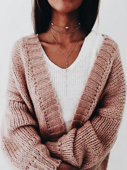 Blush chunky knit cardigan.