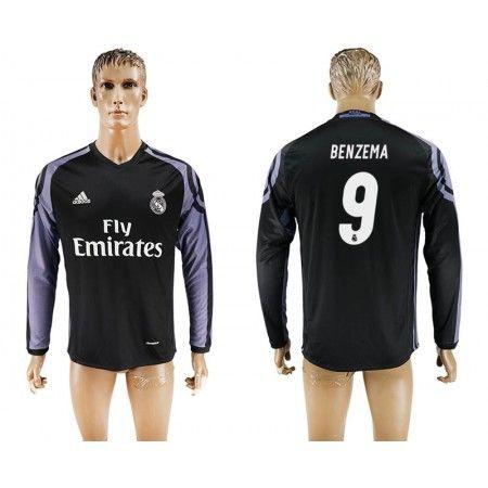 Real Madrid 16-17 Karim #Benzema 9 3 trøje Lange ærmer,245,14KR,shirtshopservice@gmail.com