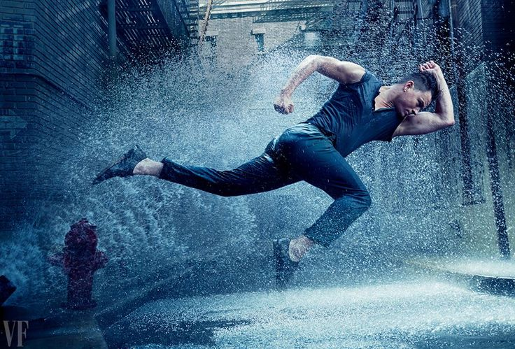 Channing Tatum in a dancing-in-the-rain-inspired shoot ahead of the premiere of Magic Mike XXL. Shot by Annie Leibovitz.