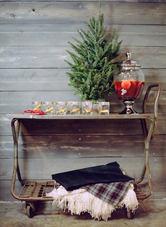 Wedding Drink Station Ideas - holiday beverage cart