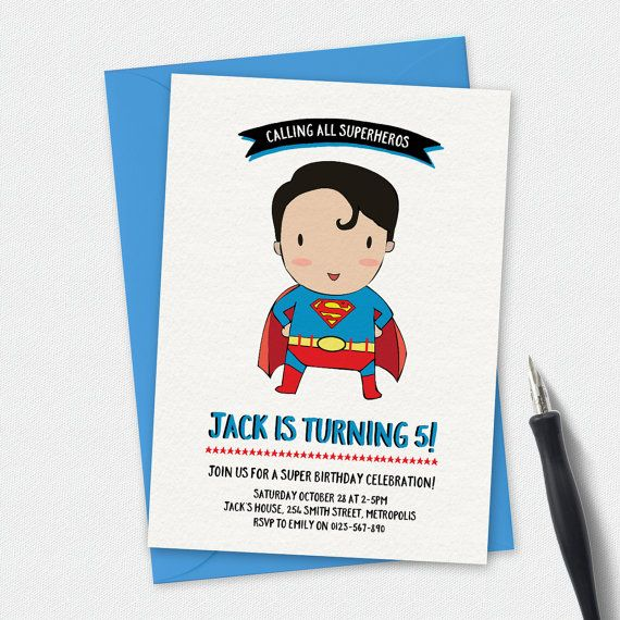 A supercute superman invitation! Superman Birthday Invitation, Superman…