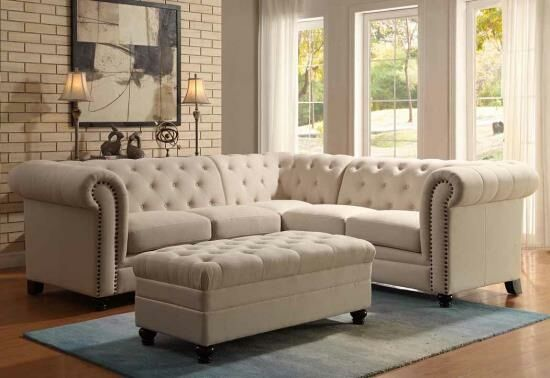 """3 pc Roy collection oatmeal blended linen fabric button tufted sectional sofa with nail head trim. This set includes the 2 one arm loves seats and corner piece. Armless chairs and ottoman also available separately at additional cost. Sectional measures 95"""" x 95"""" x 37"""" D x 33"""" H. Optional armless chairs measure 24"""" x 37"""" x 33"""" H. Optional ottoman measures 43..."""
