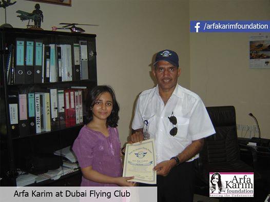 Arfa Karim receiving first flying Certificate at Dubai flying Club.