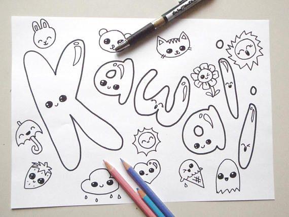 kawaii coloring page chibi girl kids adult download colouring