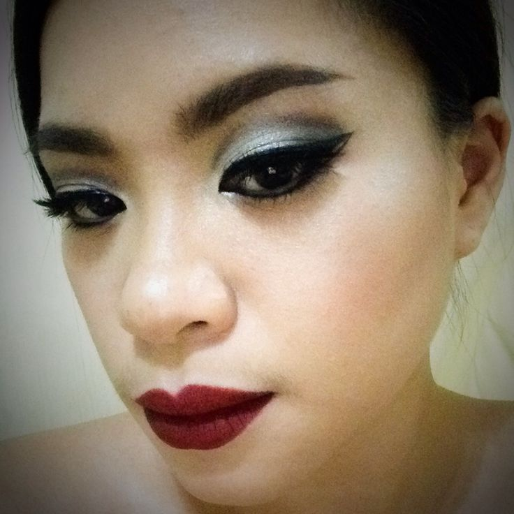 Modern-Edgy-Dramatic-Pin-up look | Doubled Winged, Cut Crease eyes, paired with Marsala Matte lips and highlighted skin