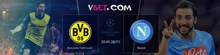 Make your predictions on UEFA Champions League at Vbet Bookmaker  Borussia Dortmund vs SSC Napoli 26/11 at 23:45 GMT+4 www.vbet.com       This match is of high importance. Napoli has earned 9 points after 4 matches and is in the second place on the ranking table, sharing the leader's position with Arsenal.  BVB have 3 points less, that's why the draw result will be good for the Italians, while Germans only need a victory.   http://www.vbet.com/inplay/?language=en#/prematch/691261417