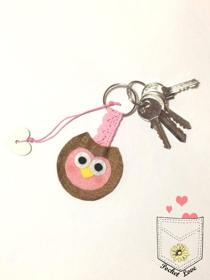 Portachiavi tiny gufo rosa, ciondolo, portachiavi feltro, animale feltro di PoCkEtLoVeIT su Etsy
