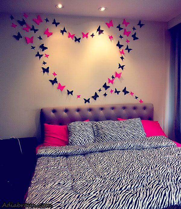 I add the zebra print blanket and pillows to contrast with the pink.