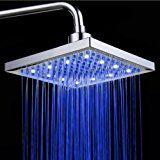 ke1aip 8pulgadas LED alcachofa de ducha 3colores cambio de temperatura controlada lluvia Top spray Cabeza de ducha baño cabeza de ducha fija