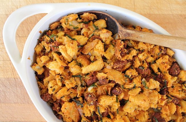 Chouriço Stuffing is a traditional Portuguese-American food that is typically enjoyed on the day of Thanksgiving.
