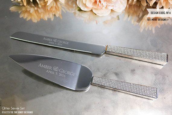 Personalized Wedding Cake Knife and Server Set  by LetsTieTheKnot