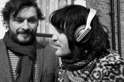 julian barratt and noel fielding.  aka: the mighty boosh.  so bizarre.  so hilarious.  so handsome in their beardfaces.