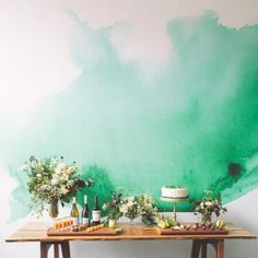 Isn't this watercolor wall gorgeous?