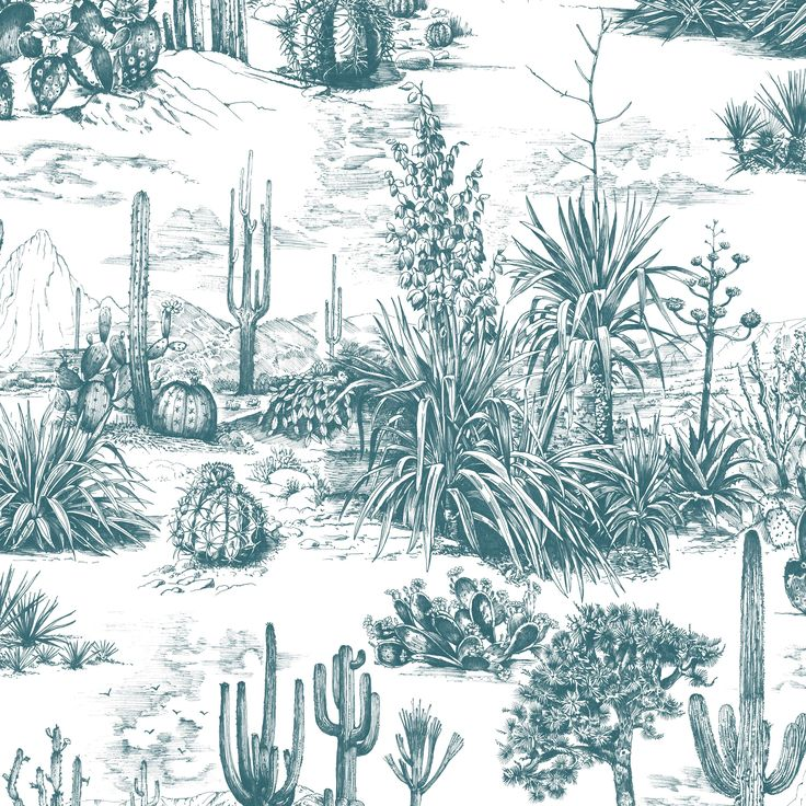 Fresco Arizona Teal Cacti Wallpaper - B&Q for all your home and garden supplies and advice on all the latest DIY trends