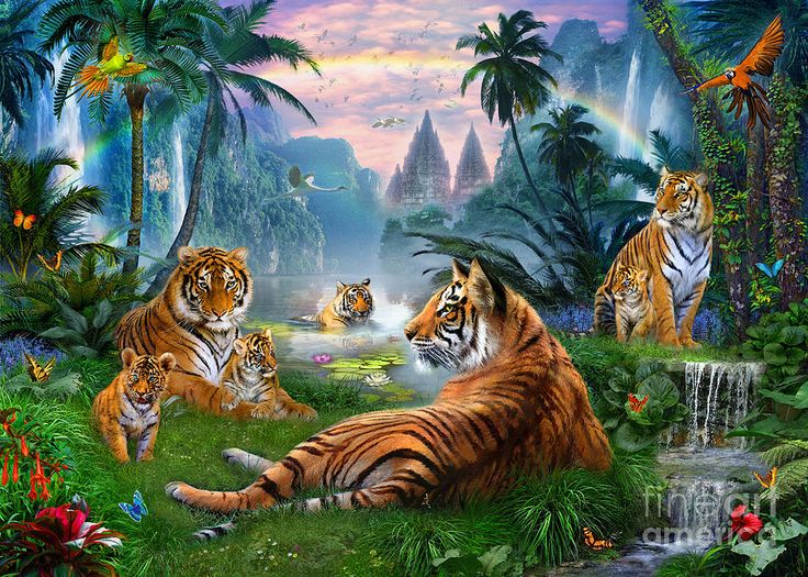 Temple Lake Tigers Digital Art by Jan Patrik Krasny