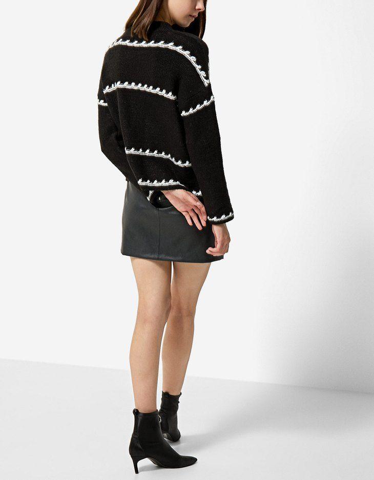 Sweater with stitching details - Knitwear   Stradivarius United Kingdom - Winter Sale