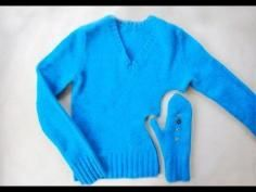 DIY Tutorial 17 Winter Wear Refashion Tutorials - Sweater Upcycling Ideas / DIY Mittens From Old Sweater - Bead&Cord