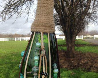 Botella de vino viento campana azul por MinkiMade en Etsy