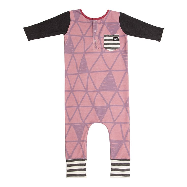 RAGS TO RACHES - Big Pink Triangle Henley Romper *PRE-ORDER*