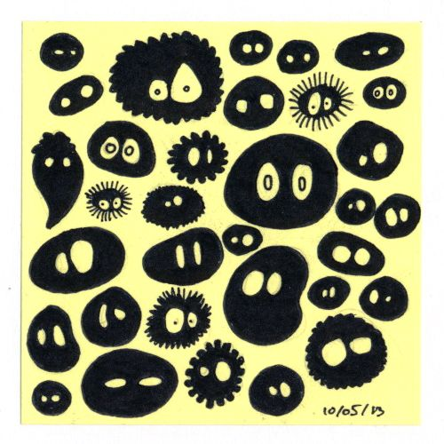 365 #daily #post-it #drawing of dust spirits from Studio Ghibli animations