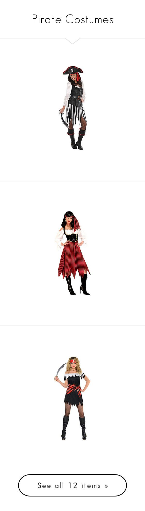 """Pirate Costumes"" by itsablingthing ❤ liked on Polyvore featuring costumes, adult pirate costumes, sexy costumes, sexy adult halloween costumes, sexy adult costumes, pirate costume, womens pirate costume, ladies costumes, red pirate costume and red costume"