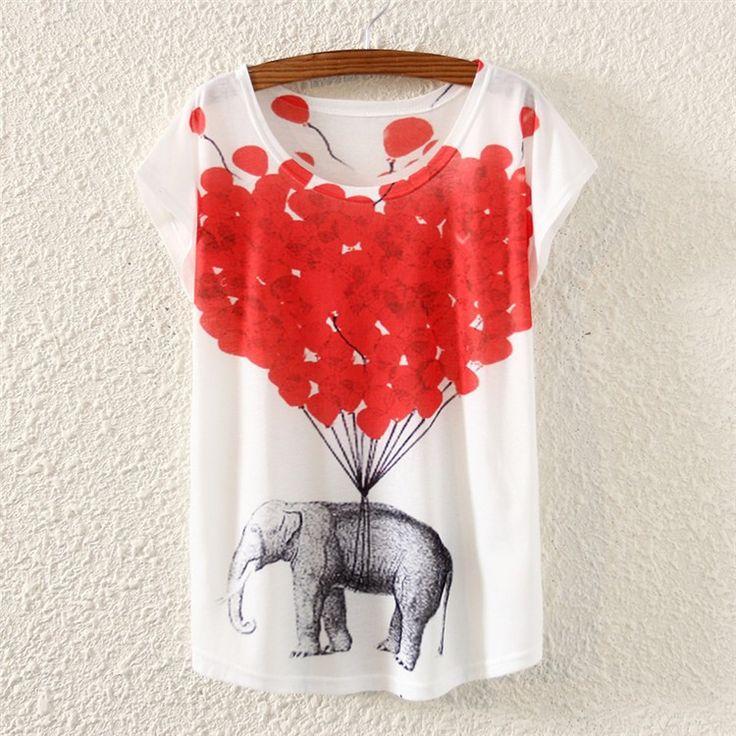 [Women Hot] 2015 new tops tees short sleeve cotton t-shirt women/girls casual tshirt cartoon/animal 3d print t shirt free ship