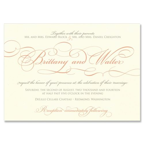 Embellish Wedding Invitation in Dove and Coral | by The Green Kangaroo, Inc. | Elegant Ornamental Script!