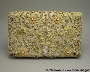 Vintage India Zardozi Embroidered Beaded Clutch Evening Bag Purse Cul. Pearls