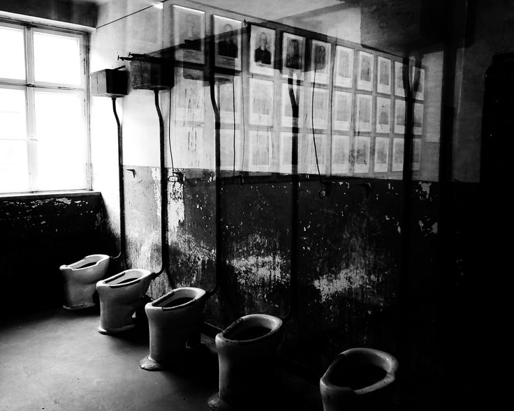 Block 7. Toilets inside a block in Auschwitz I. There were 22 toilets for more than a 1,000 prisoners who stayed in the block and the possibility of using them was usually very limited.