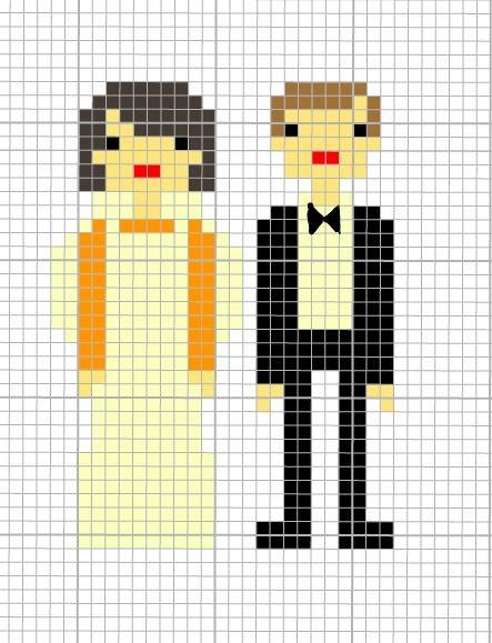 cross stitch pattern M and J