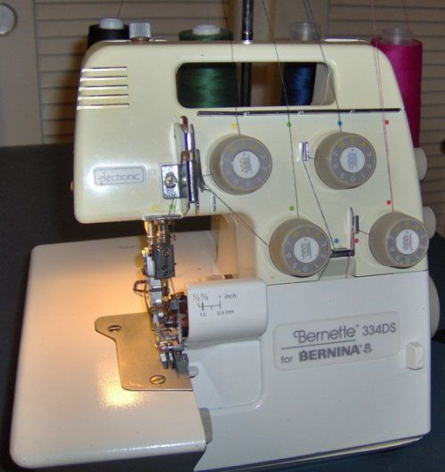 Bernina Bernette 334d serger This is almost exactly what I was given from a friend except that mine is a 334DS.  I need to stop being intimidated by this machine and learn how to use it.