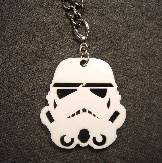 Storm Trooper Pendant - Laser Cut Acrylic Necklace