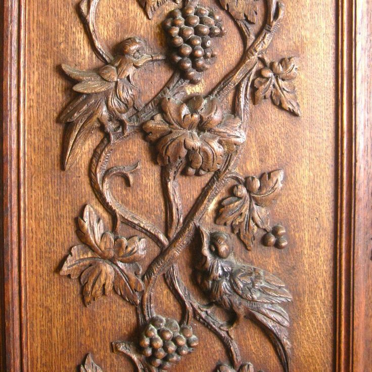 Antique french hand carved wooden panel door birds