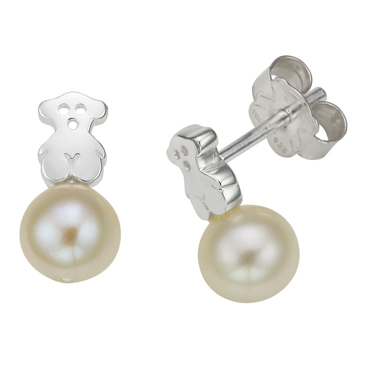 """Sterling silver TOUS Puppies earrings with 1cm. - 3/8"""" pearls.  $89.00  Tous Washington DC"""