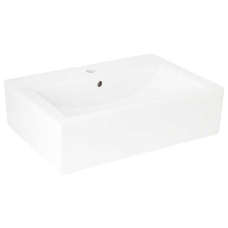 Rupert Rectangular Vessel Sink - White
