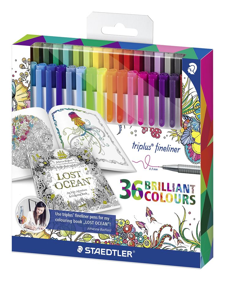 STAEDTLER Triplus Fineliner, Exclusive Johanna Basford Edition - Assorted Colours, Set of 36