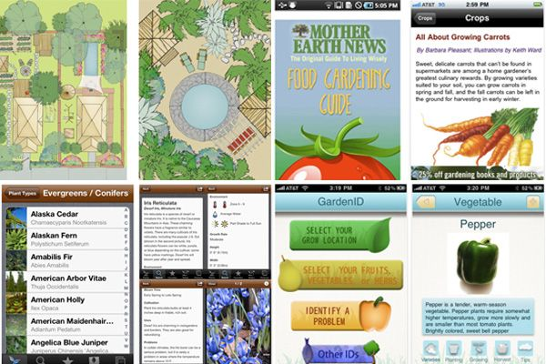5 Great Gardening Apps---Screenshots from gardening apps for iPhone and Android