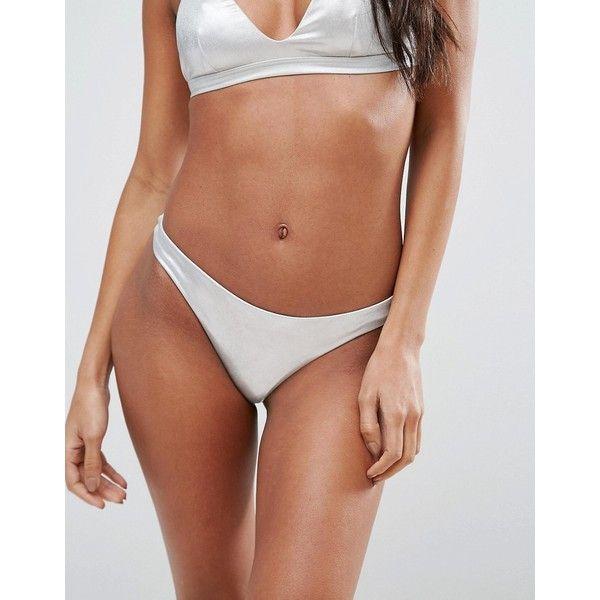 Billabong Silver Bikini Bottom ($38) ❤ liked on Polyvore featuring swimwear, bikinis, bikini bottoms, silver, low cut bikini bottom, cover up bikini, bikini bottom swimwear, swim cover up and swim wear