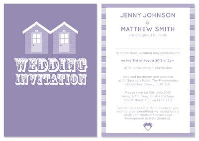 katyclemmans.co.uk beach hut wedding invitation