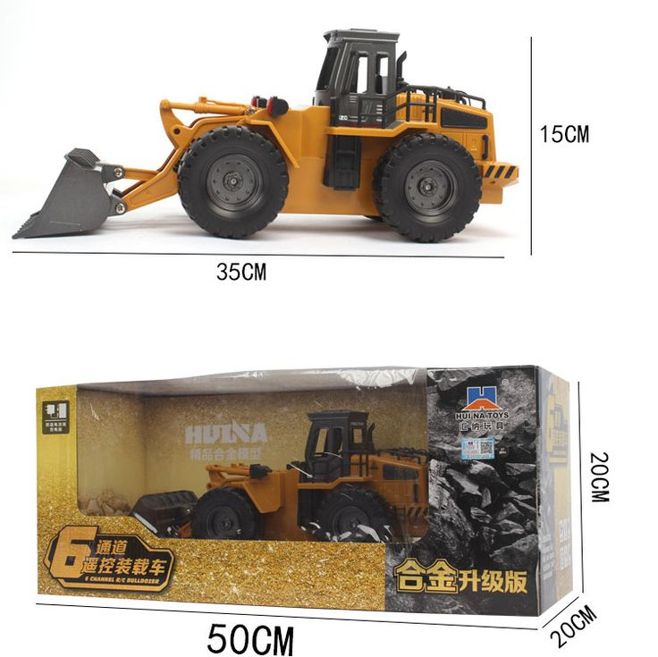 "Specifications: HuiNa Toys Model 1520 Proportional 1/14 Control Channels 6 Channels Transmitter Frequency 27HMZ Control Distance About 30-50m Movement Direction Forward, Backward, Left, Right, Bucket Rise and Decline Weight 52.91oz / 1500g Material Metal & ABS Plastic Car Battery 4.8V 400mAh Rechargeable Battery Pack (Included) Transmitter Battery 2 x 1.5V AA Batteries (No Included) Running Time About 20-25 mins Charging Time 120mins Length 13.77"" / 35cm Width 5.91"" / 15cm Height 5.51""…"
