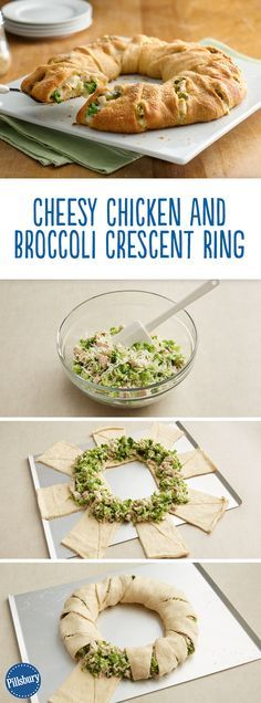 """The BEST chicken dinner! Try this easy Cheesy Chicken and Broccoli Crescent Ring. It's a great way to """"hide"""" those delicious and good-for-you vegetables from your kids."""