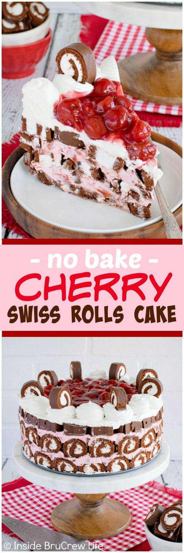 No Bake Cherry Swiss Rolls Cake - layers of cherry cheesecake and chocolate snack cakes makes this cake amazing! Great dessert recipe! #ad