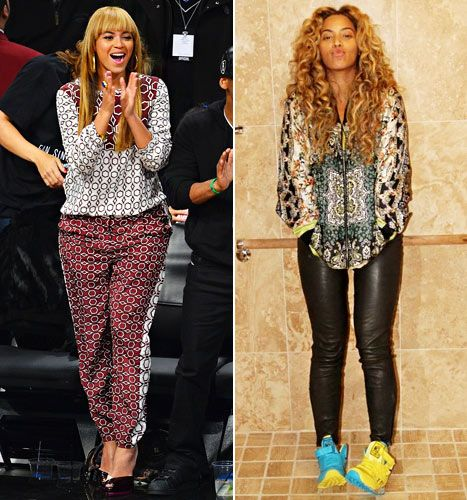 Beyonce takes fashion risks with items like Tibi's printed top and bottom and Reebok's colorful sneakers.