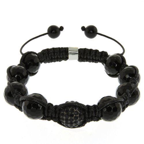 "10mm Black Crystal Disco Ball Dia-Cut Adjustable Bracelet Gem Stone King. $12.99. 10MM Black Agate and Black Crystal Ball. 7.5"" to 11"" Adjustable Bracelet"