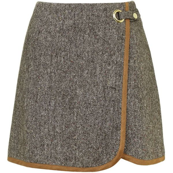 TOPSHOP Tweed Wrap Front Pelmet Skirt (935 MXN) ❤ liked on Polyvore featuring skirts, brown, wrap front skirt, topshop skirts, topshop, eyelet skirt y brown skirt