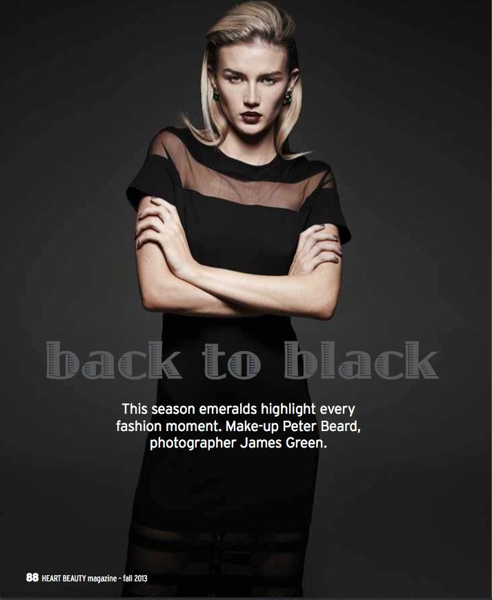HEART BEAUTY MAGAZINE ISSUE 1 - BACK TO BLACK  PHOTOGRAPHY: James Green @ THE ARTIST GROUP SYDNEY / STYLING: Carli Johnston / MAKE-UP: Peter Beard using MAC Cosmetics / HAIR: Deborah Brider @ Debut Management using Kiehl's Australia / MODEL: Amy Pejkovic @ London MGT Group